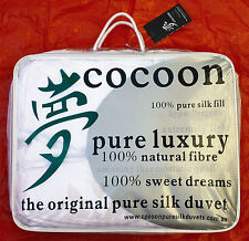 Cocoon Pure Silk Duvet. Autumn Sale! Double All Year Weight Doona.