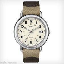 Timex Men's T2N782AB Weekender Sport Leather & Nylon Strap Watch