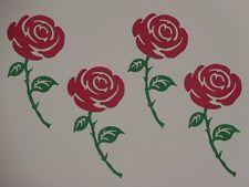 4 RED rose stems greeting card die cuts