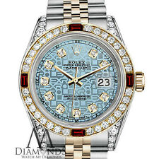 Ladies Rolex Steel & Gold 26mm Datejust Watch Jubilee Ice Blue Dial Ruby Diamond