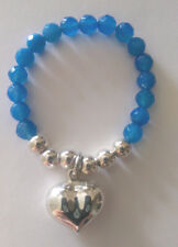 Blue Agate Semi precious Stone Bracelet, Sterling Silver Puff Heart Charm