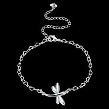 925Sterling Silver Fashion Jewelry Large Dragonfly Woman Anklets Bracelet AY093