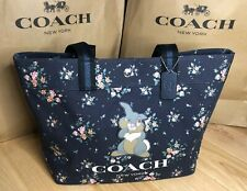 Coach Disney Tote Bag with Rose Bouquet Print and Thumper