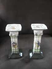 Rare Pair of Royal Doulton Bayeaux Tapestry Series Ware Candlesticks