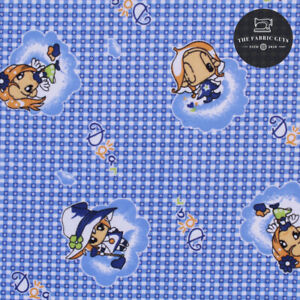 Soft Brushed 100% Cotton, Checked Anime, Blue & White, Cartoon, 108cm Wide