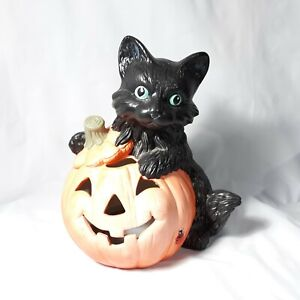 Halloween Jack O Lantern Black Cat Ceramic Figurine Vintage Fall Decor
