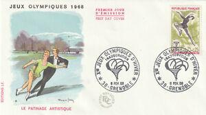 ENVELOPPE 1er JOUR 1968 -JEUX OLYMPIQUES D'HIVER- GRENOBLE- PATINAGE ARTISTIQUE