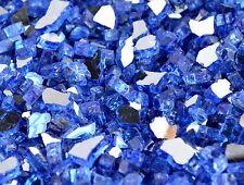 """40 LBS 1/4"""" SAPPHIRE(COBALT BLUE) REFLECTIVE ,Fireplace,Fire Pit Glass Rocks"""