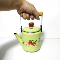 Green enamelware pot camping coffee Tea Kettle Vintage enamel cookware