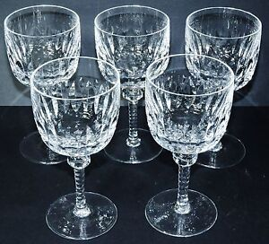 VINTAGE CUT GLASS WHITE WINE GLASSES (5) CUT STEMS & BOWL * *