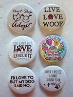"1.5"" PET LOVER Set #1  6-pk Novelty Buttons/Pins: For backpacks, Jackets & More"