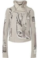 RICK OWENS  embroidered Cashmere biker jacket Pearl Sz It 38 US 4 $6160