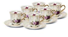 EURO Porcelain 'Roses' Miniature Espresso Coffee Cup Set for 6, 24K Gold (4 oz)