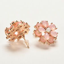 Women Lovely Resin Round Flower Stud Earrings Vintage Crystal Flower Earings XB
