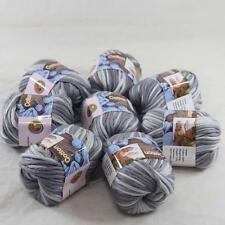 8BallsX50g Special Thick Worsted 100% Cotton Hand Knitting Yarn Mom Gray White