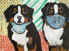 Bernese Mountain Dog in Quarantine 13 x 19 Dog Pop Art Print Collectible Ksams