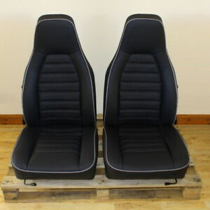 Porsche 924 944 911 Front Seat Covers Leather Classic Black Silver Piping Custom
