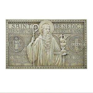 St. Benedict In All Things Glory to God Detailed ResinGarden Sign, 12 Inch N.G.