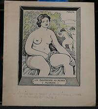 Dessin Original Humoristique FRICK  Marius Le Nu Feminin D'Auguste Renoir FR69