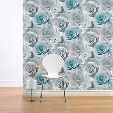 MURIVA MADISON ROSE FLORAL WALLPAPER BLUE (119503) NEW FLOWER