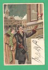 SCARCE 1903 MAILICK CHRISTMAS/NEW YEAR POSTCARD COUPLE OFFERED HOT DRINK WINDOW