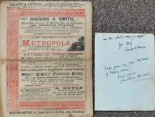 More details for metropole birkenhead programme 1885 & autographs f r benson & wife /shakespeare