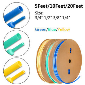 """5/10/20ft Dual Wall Heat Shrink Tubing Adhesive Lined Green/Blue/Yellow 3/4-1/4"""""""