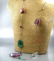 Long Color Transparent Beads Fashion Necklace Earrings Women Jewelry
