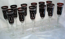 SET OF 12 RUBY RED CHAMPAGNE FLUTES