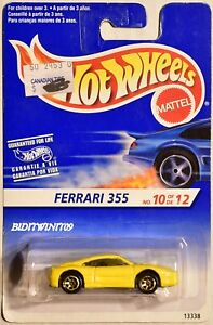 HOT WHEELS 1995 FERRARI 355 #10/12 GOLD WHEELS
