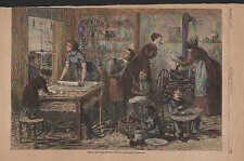 Children, Thanksgiving, Kitchen, Family Scene, Vintage, 1879 Antique Art Print,