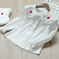 US Stock Toddler Girls' Long Sleeve Tops Button-Down White Shirts Blouse
