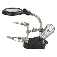 Versatile Helping Hand Clip LED Light Lens Magnifier Magnifying Table Lamp