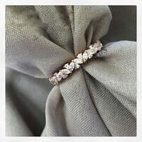 14k White Gold Over Real Love Heart Diamond Promise Wedding Band Engagement Ring