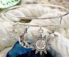 Sun Moon and Stars Celestial bright Silver charm Expandable Bangle Bracelet
