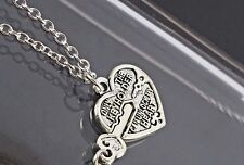 """Heart & Key 2 Necklaces """"Only The Key Holder Can Unlock My Heart"""" Couples Set"""
