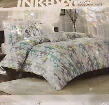 "Ink+Ivy 3Pc King Duvet Set ""Sierra"" Ikat White/Lime/Grey/Aqua Reversible Nip"
