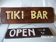 NEW TIKI BAR OPEN/CLOSED SIGN HAND CARVED 2 SIGNS IN 1 HOME DECOR