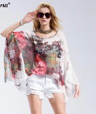 BATWING BLOUSE TOP KIMONO BEACH COVER UP WHITE BLACK FREE SIZE UP TO UK 22