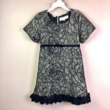 TRISH SCULLY CHILD Girls Black Lace Green Dress Velvet Accents Size 8 Dress