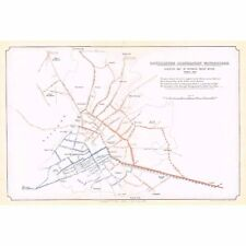 MANCHESTER Corporation Waterworks Street Plan of Mains in 1849 Antique Map 188