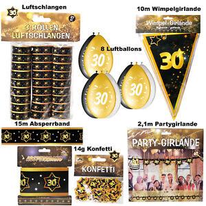 30.Geburtstag Deko Set 30 Jahre Dekoration Party Zubehör Gold Feier Girlande