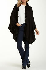 New Black Knit Ruffle Ruana Sweater Jacket by Nordstrom Accessory St $60 Tags