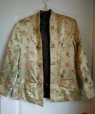 Vintage Jacket reversible Chinese silk champagne brown size 12