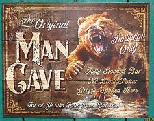 Original Mancave Grizzly Bear Tin Sign cabin bar poker lodge wall art decor 1925