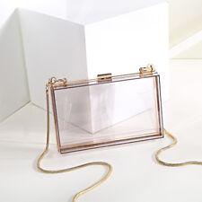 Women Transparent Acrylic Box Mini Hardcase Metal Clutches Evening Party Bag