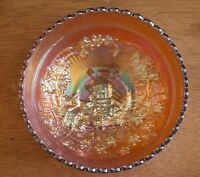 Carnival Glass Double Dutch Bowl Windmill Flowers Marked Scallop & Bowl