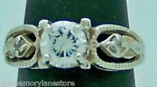 STRIKING ESTATE WHITE STONE STERLING SILVER ENGAGEMENT RING by AVON, SIZE 5
