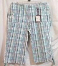 GLORIA VANDERBILT Size 10 Multi-Color Plaid Capri Pants Cotton Spandex Stretch