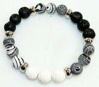 Armband Edelstein Perle ZEBRA Lava Schaumkoralle schwarz weiß stretch 213x